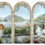 Mural of Scotland with collies at Eilean Donan Castle