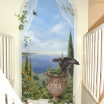 mural tuscan sea with bird of prey