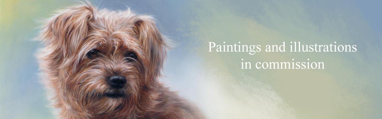Dog portraits, paintings in commission by artist Marjolein Kruijt