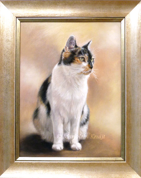 Cat portrait painting in commission (framed) by pet portrait artist Marjolein Kruijt