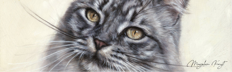Kattenkunst, kattenschilderijen vrij werk & kattenportret in opdracht door Marjolein Kruijt