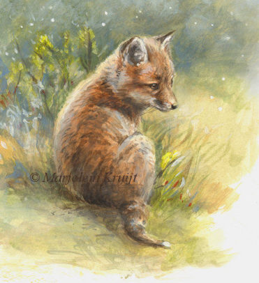 Baby fox painting in acrylics by Marjolein Kruijt (for sale)