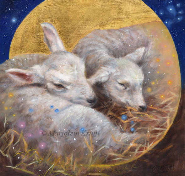 'Lambs', 20x21cm, oil + gold leaf (for sale)