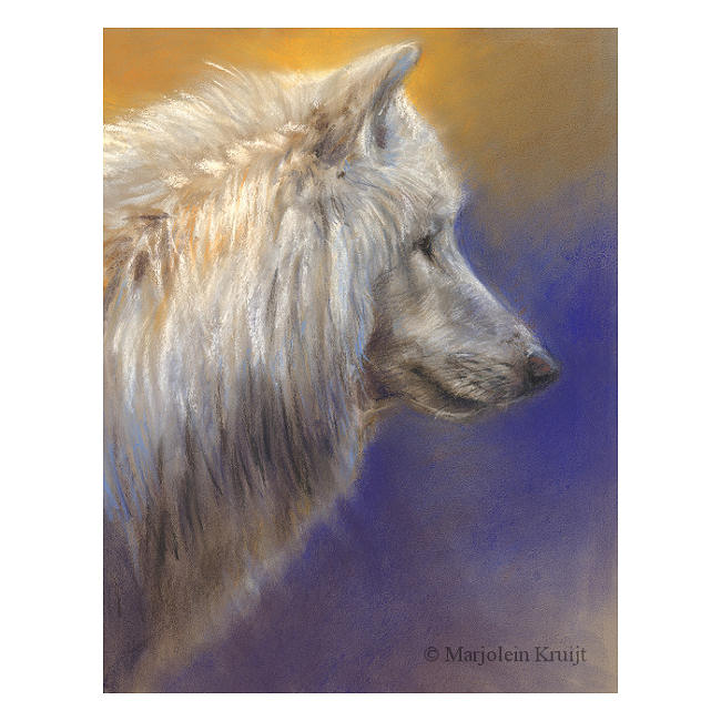 'White wolf', 20x30 cm, pastel painting (for sale)