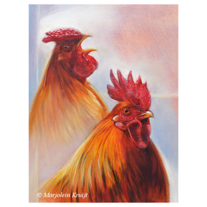 'Roosters - competition', 24x18 cm, oil painting