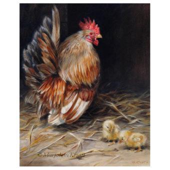 'Best dad'- Chabo Japanse kriel, 30x24x30 cm, olieverf schilderij (verkocht)