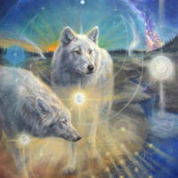 Ascended wolves of Yellowstone NP- 120x80 cm, oil on canvas [portal, Aa Metatron]