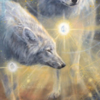 Close-up-Ascended wolves of Yellowstone NP- 120x80 cm, oil on canvas [portal, Aa Metatron]