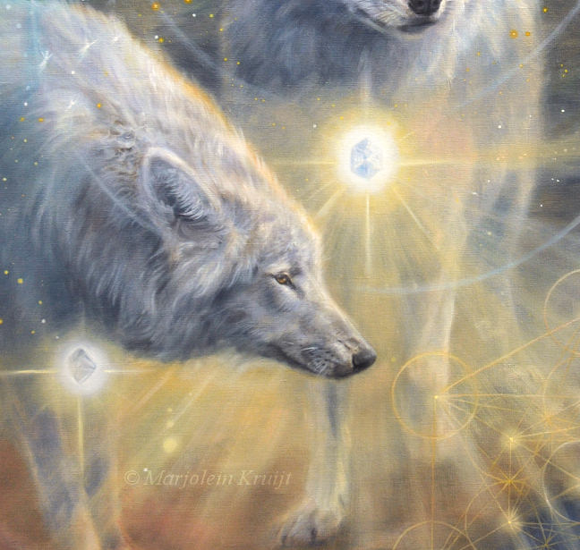 Close-up-Illumined II - ascended wolves of Yellowstone NP & Aa Metatron, 120x80 cm, olieverf op doek