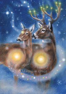 'Deer', oil painting (published as oracle card)