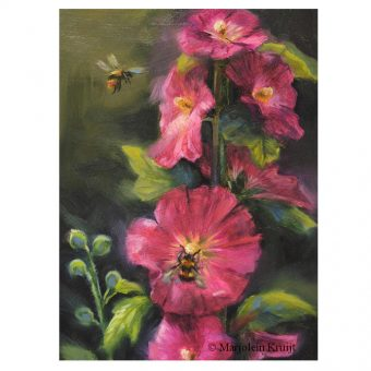 Hollyhock and bumblebees incl. frame