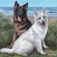'Shepherd dogs at sea', 60x50 cm oil painting (sold/commission)