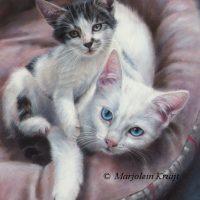 'Kittens', 24x18 cm, oil portrait (sold/commission)