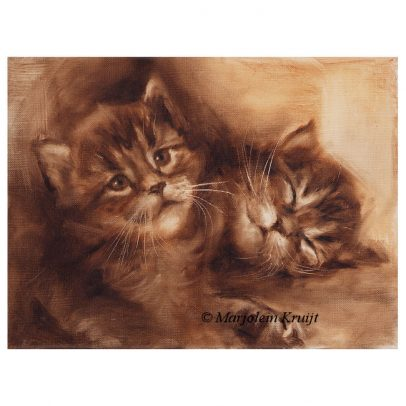 'Kittens in sepia', 18x24 cm, oil painting (for sale)