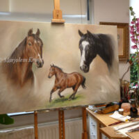 'Horse portraits', 80x120cm, oil painting in commission (sold)