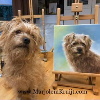 Portrait paintings of dogs in commission. Photo of the dog & the painting.