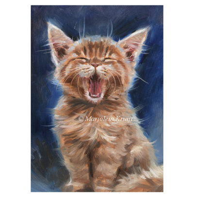 'Gapende kitten', 18x13 cm, olieverf schilderij op paneel (te koop)