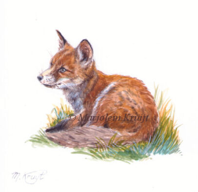'Baby fox', painting 11x11 cm, (for sale)