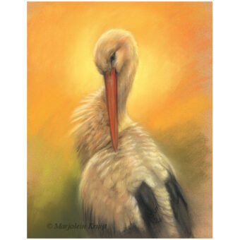 'Golden Stork', painting 40x30 cm, pastel painting (for sale)