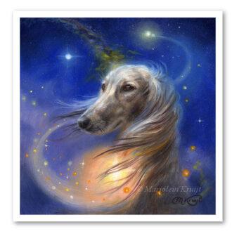 Saluki dog, 15x15 cm Art reproduction print (for sale)