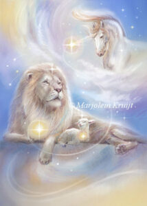 (37) peaceful warrior oracle card lion, lam and unicorns
