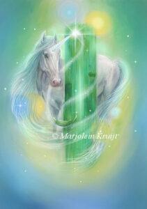 (31) cosmic emerald- Archangel Raphael oracle card illustration