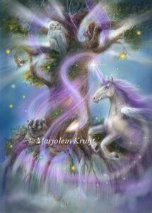 (26) violet flame and unicorns, Saint Germaine illustration