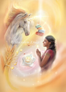 (24) shower of blessings - Unicorn oracle card illustration