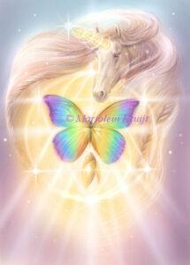 (19) coccoon of white light - Archangel Metatron, unicorn illustration